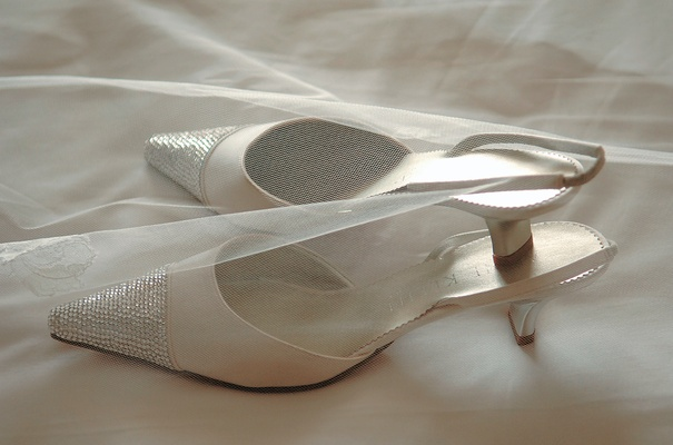 Ivory sling back wedding heels with rhinestone toe