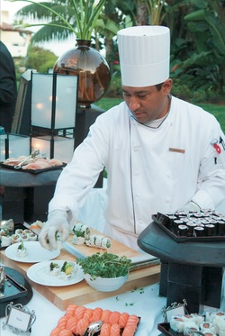 Catered Japanese food station with chef
