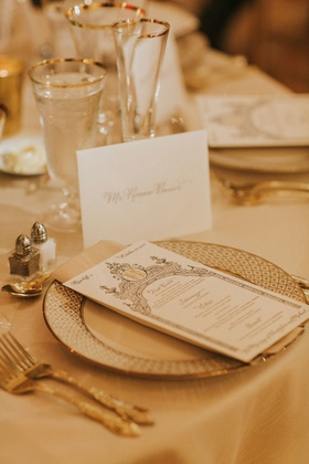 wedding reception place setting white and gold tablescape gold rim glassware ornate menu gold forks