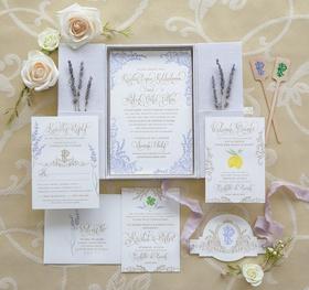 elaborate lavender invitation suite, boxed invitation suite