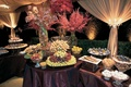 Fruit table and dessert table at wedding reception