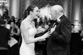 Black and white photo strapless wedding dress with skirt removed ponytail father daughter dance
