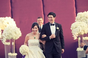 Chinese-American couple exiting ceremony