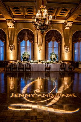 names of couple and their monogram projected onto dance floor