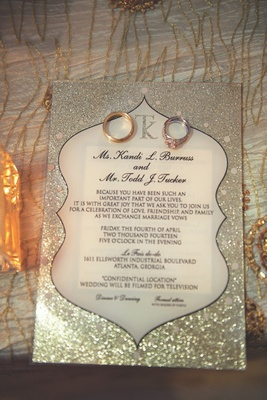 Kandi Burruss and Todd Tucker silver glitter wedding invite