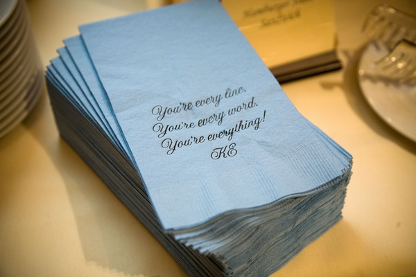 romantic quote printed on blue napkins