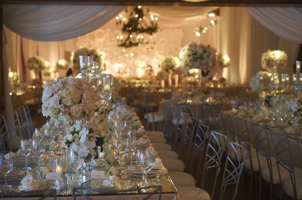 A romantic neutral hued wedding in los angeles california table with mirror topped with neutral centerpieces junglespirit Images