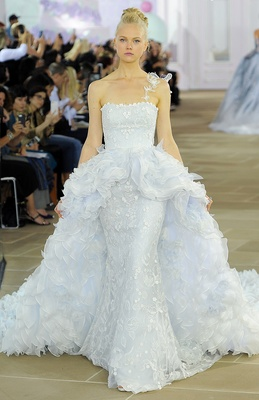 Strapless powder blue column gown with embroidered overlay and detachable multi-ruffle Silk Organza