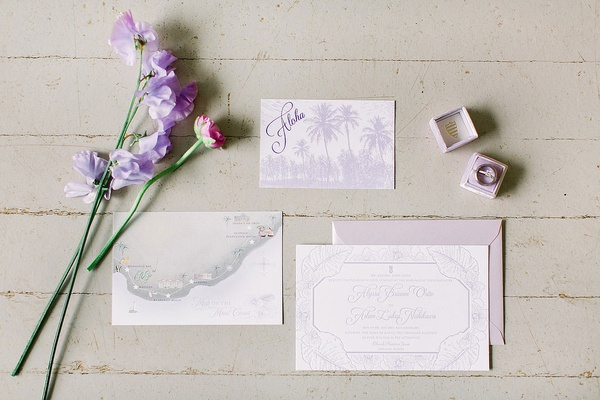 destination wedding invitation suite light purple tropical motif aloha card with custom map