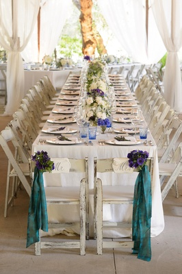 Rustic elegant Melissa Claire Egan wedding with long head table