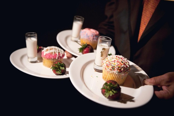 Sprinkle cupcake with milk and chocolate strawberry