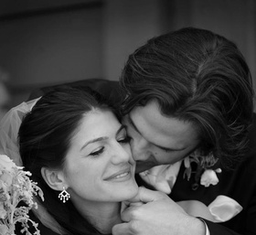 Black and white photo of Jared Padalecki and Genevieve Cortese