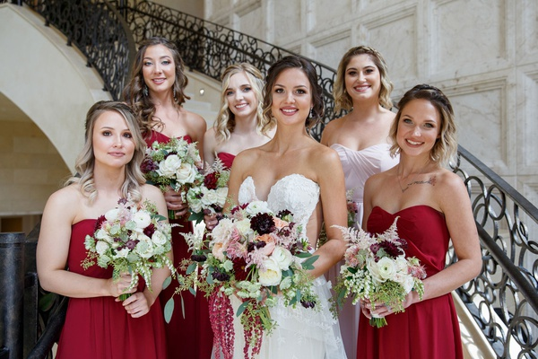 Wedding ideas fall colors burgundy light pink green bouquets red bridesmaid dresses