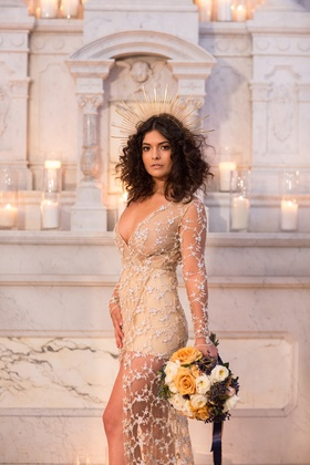 trish peng couture dress, sunburst crown headpiece, bridal look inspired by beyonce 2017 grammys