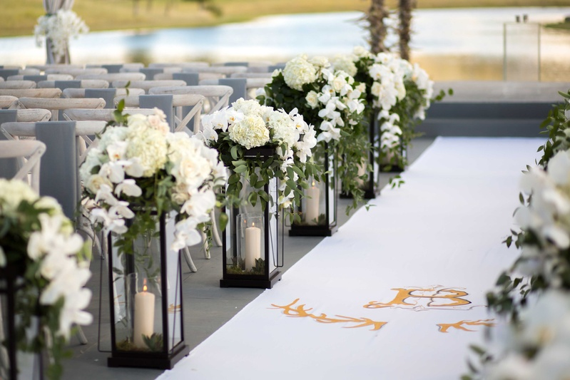 Ceremony Decor Photos Lantern Decor Along Aisle Runner