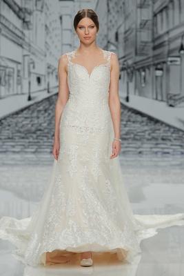 Justin Alexander Spring Summer 2017 ivory wedding dress illusion neckline lace applique long train