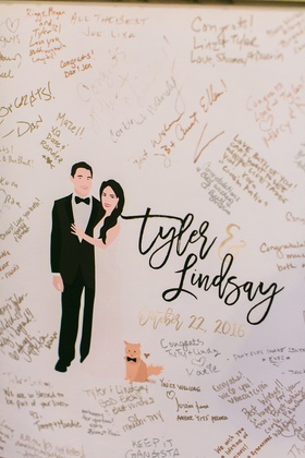 Wedding reception drawing of couple with cat in bow tie and guest signatures
