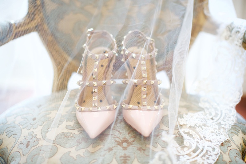 c5e5ff0fe3a6 Wedding day heels pink pointed toe pumps studs gold heels on chair with  veil over