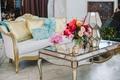 lounge area wedding reception bold floral arrangement mirrors