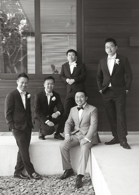 Black and white photo of Asian groomsmen in Bali