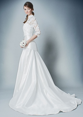 ROMONA by Romona Keveza Fall 2018 silk wedding dress with buttons and high neck three quarter blouse