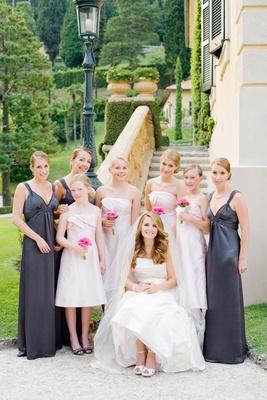 Bridesmaids and junior bridesmaids with bride in Italy