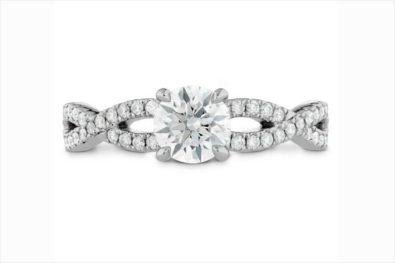 Hearts On Fire diamond engagement ring with intertwining band