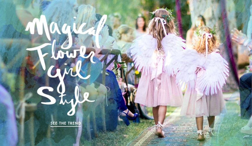 Flower girl fairy wings for pretty outdoor weddings