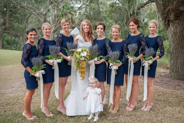 DVF lace blue short bridesmaid dresses with lavender bouquets
