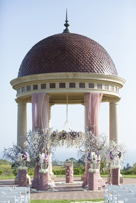 Resort at Pelican Hill rotunda with floral chandelie