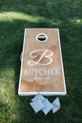 custom corn hole board last name fun lawn games northern california wedding winery entertainment