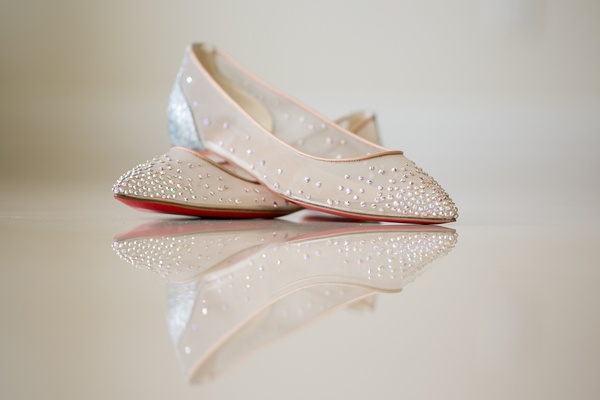 Christian Louboutin Follies Strass Mesh & Leather Flats, bridal pointed flats for wedding