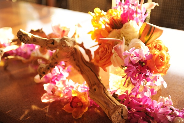 Orchids, roses, and tropical flower decoration