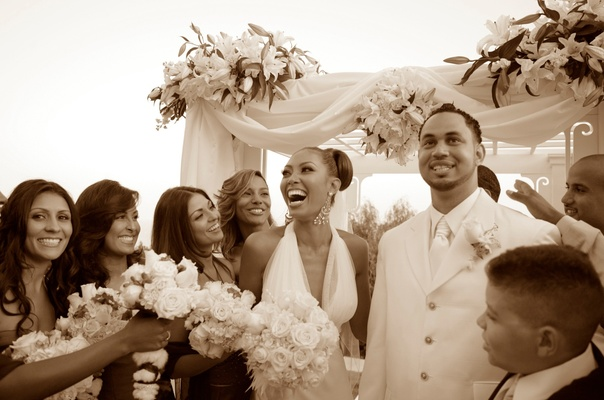 Sepia toned photo of bridesmaids and couple