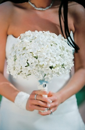 Bride's bouquet of stephanotis flowers with rhinestone centers