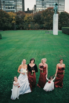 Bride with bridesmaids and flower girls in Bryant Park