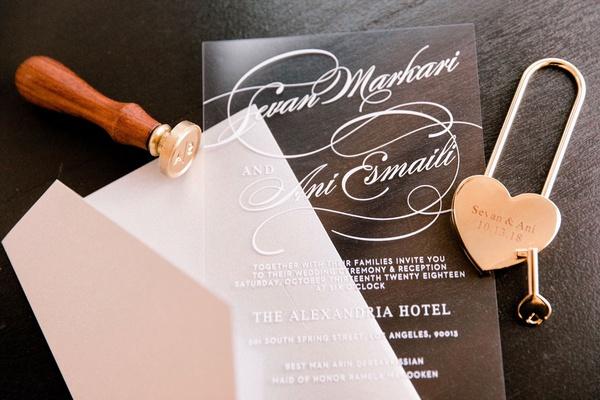 wedding invitation lucite acrylic sheet with white lettering translucent wedding ideas