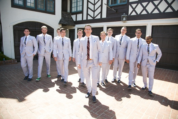 Groom and groomsmen in casual whipcord suits