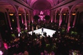 Vibiana wedding reception dark pink lighting greenery first dance aerial view
