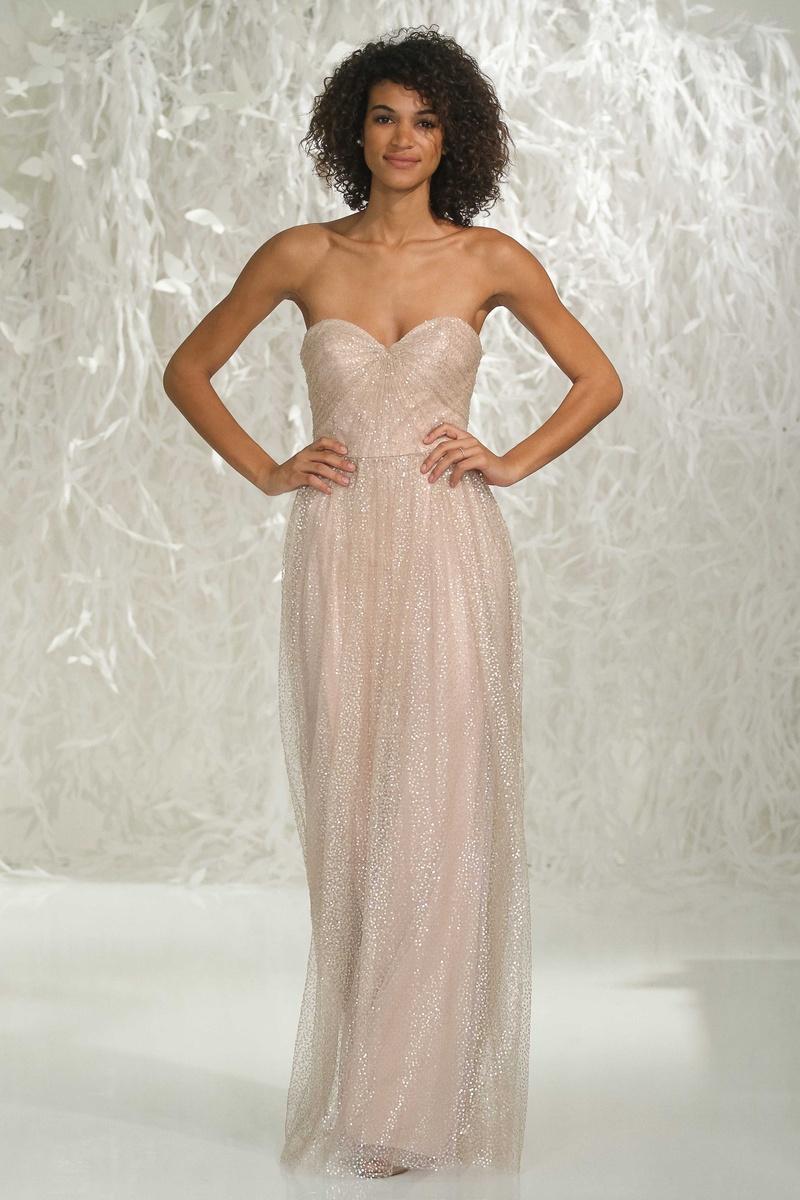 1f9dbacde15 Watters Bridesmaids 2016 strapless long bridesmaid dress in gold glitter  fabric