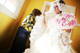 Persian bride wearing mantilla veil