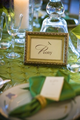 Gold frame with table name and dragonfly motif