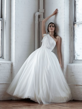 Isabelle Armstrong Fall 2018 bridal collection tulle one shoulder ball gown with floral appliques