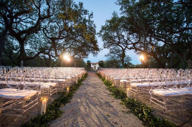 vizcaya museum and gardens wedding, nighttime wedding ceremony, jewish ceremony after sunset