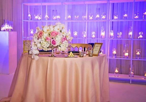 sweetheart table with centerpiece white orchid ivory hydrangea pink rose and gold chairs purple