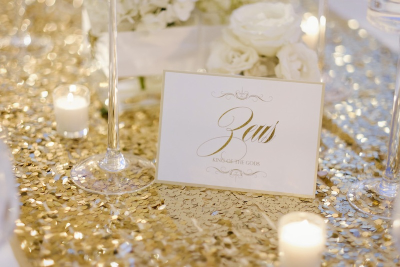 Reception dcor photos mythical white gold table name inside wedding reception table with gold sequined runner votive candles white roses and zeus junglespirit Choice Image