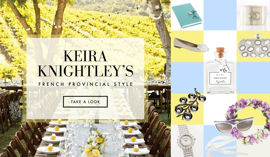 Discover how to obtain the elegant wedding style of Keira Knightley and James Righton.