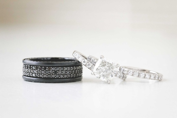 Chris Johnson MLB player's black men's wedding band and princess cut engagement ring with eternity
