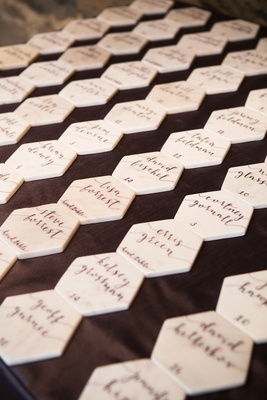 Escort card modern calligraphy table numbers on marble hexagon place cards wedding favor alternative
