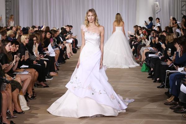 Ines Di Santo one shoulder flower print wedding dress